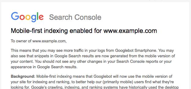 MobileFirstIndexの通知